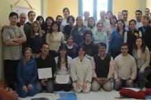 Maestro SAkanashi junto a la Dra Maratea al final de un curso de zen shiatsu